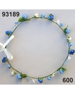 Blüten-Girlande am Draht / blau / 93189.600