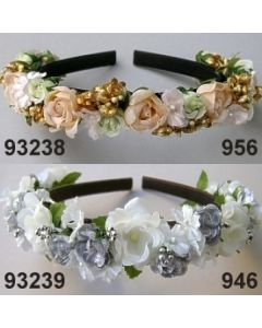Rosen-Blüten Haarreif / silber-creme / 93239.946