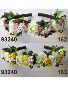 Rosen-Blätter Haarreif in 3 verschieden Farben-grün-rosa-gelb / 93240
