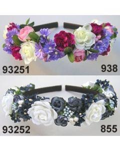 Rosen-Blüten Haarreifen  / rosa-weiß-violett-brombeer / 93251.938