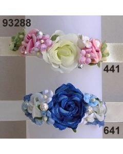 Rosen-Vergissmeinnicht Armband  in 4 Farben beige-rot-rosa-blau / 93288