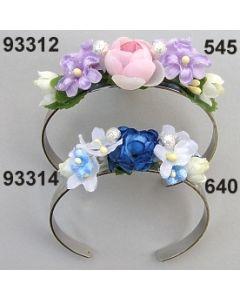 Rosen Flieder Metall Armreif / blau weiß / 93314.640