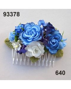 Rosen-Vergissmeinnicht Haarkamm klein / blau-weiß / 93378.640