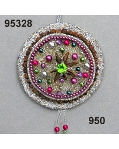 Modern-Ornament Scheibe / silber-lila / 95328.950