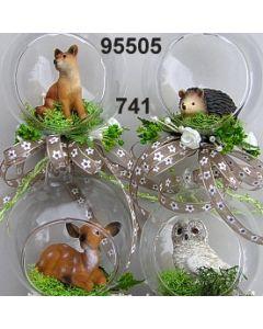 Glaskugel Waldtiere dekoriert / grün-creme / 95505.741