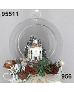 Glaskugel Stille Nacht Kapelle dekoriert / gold-creme / 95511.956