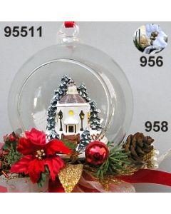 Glaskugel Stille Nacht Kapelle dekoriert / gold-rot / 95511.958