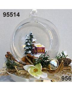 Glaskugel mit Kirche dekoriert / gold-creme / 95514.956