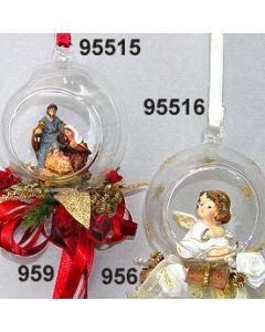 Glaskugel mit Engel klein dekoriert / gold-creme / 95516.956