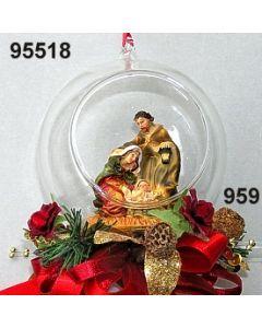 Glaskugel mit Krippe dekoriert / gold-weinrot / 95518.959