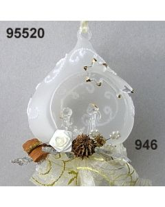 Glaskrippe Barock dekoriert / silber-creme / 95520.946