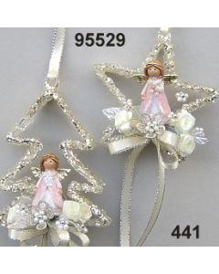 Glas-Glimmer-Stern/Baum mit Engel / rosa-champagner / 95529.441