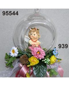 Glaskugel Trachenengel dekoriert / bunt / 95544.939