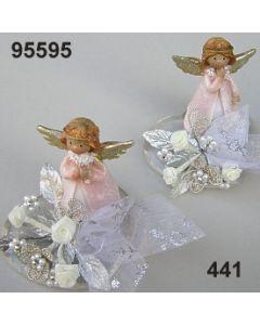 Engel auf Acryl-Herz / rosa-champagner / 95595.441