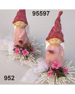 Engel mit Mütze auf Stern Set 2 / silber-rosa / 95597.952